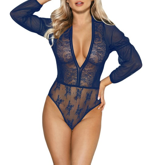 Jewel Plunging LS Bodysuit S-5X - orangeshine.com
