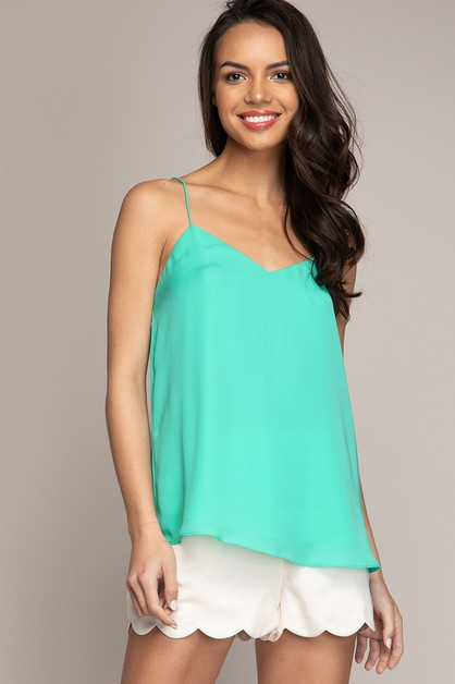 V-NECK PLEATED BACK CAMI TOP - orangeshine.com