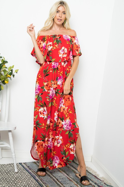 Floral Ruffled Shoulder Maxi Dress - orangeshine.com