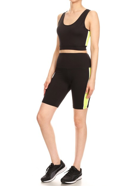 Activewear Yoga Set Biker Shorts Top - orangeshine.com