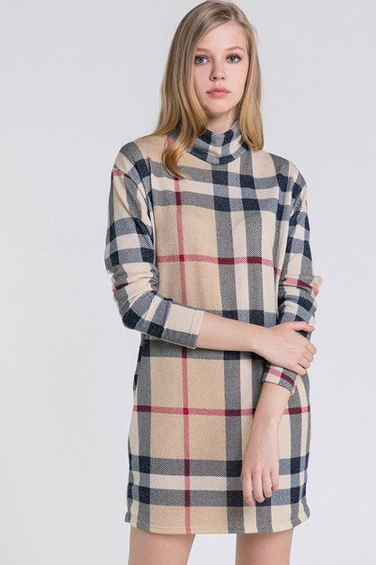 Chic Plaid Print Sweater Knit Box Dr - orangeshine.com