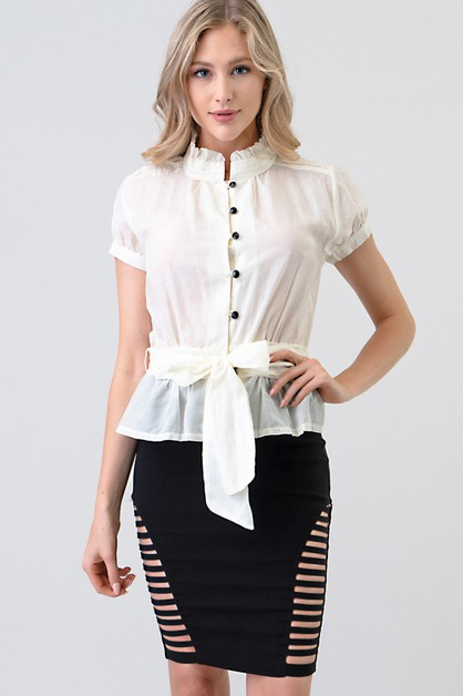 BALLOON SHORT SLEEVE TIE WAIST BLOUS - orangeshine.com