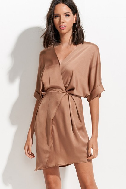 Silky Satin Wrap Dress - orangeshine.com
