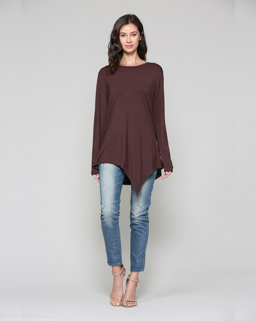 Kelly Crew Neck Top-Chocolate - orangeshine.com