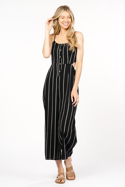 COTTON STRIPE BUTTON-FRONT JUMPSUIT - orangeshine.com