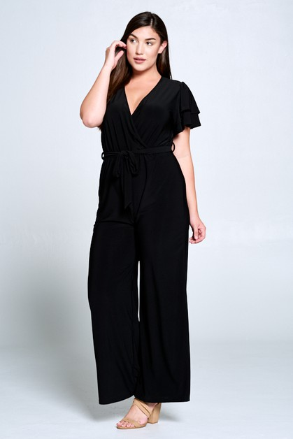 SOLID DOUBLE LAYER   SLEEVE JUMPSUIT - orangeshine.com