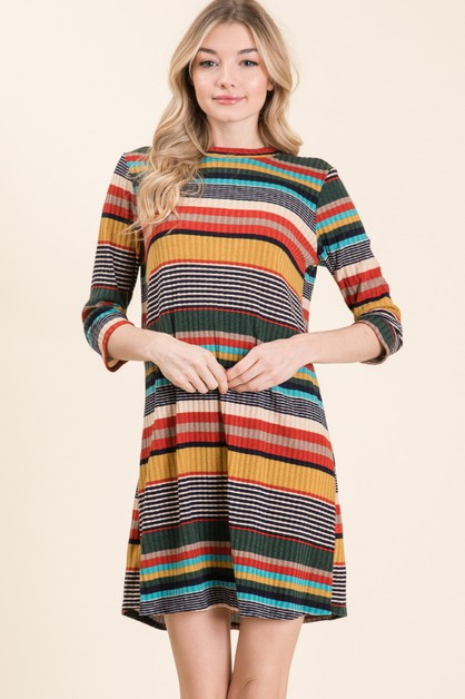 BACK SIDE KEY HOLE STRIPE KNIT DRESS - orangeshine.com