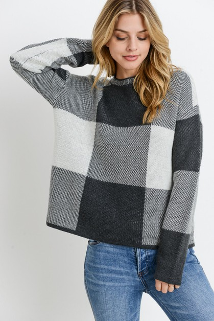 Checkered Pattern Sweater - orangeshine.com