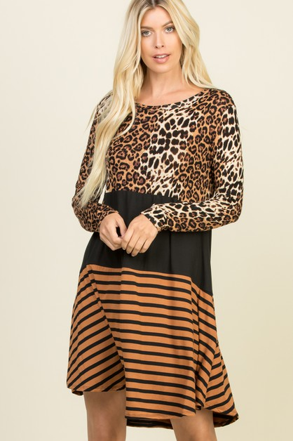 ANIMAL PRINT STRIPED SHORT DRESS - orangeshine.com