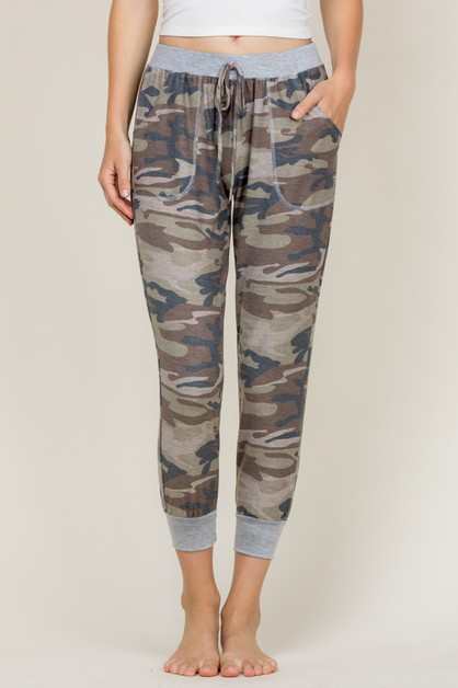 DRAWSTRING CAMO SIDE POCKET JOGGER - orangeshine.com
