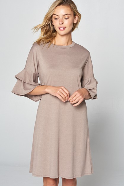 SOLID FRENCH TERRY RUFFLE  SL DRESS - orangeshine.com