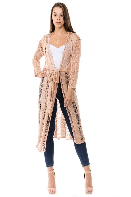 SHREDDED CARDIGAN WITH WAIST TIE - orangeshine.com