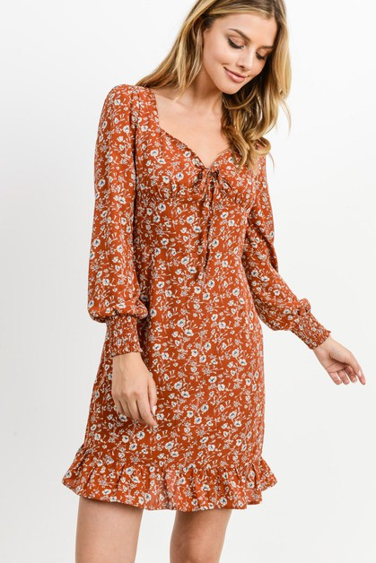 Button Down Ruffled Hem Dress - orangeshine.com