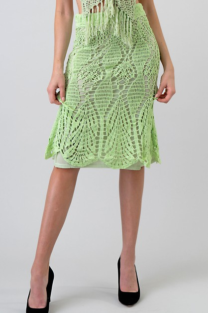CROCHET KNIT PENCIL SKIRT - orangeshine.com