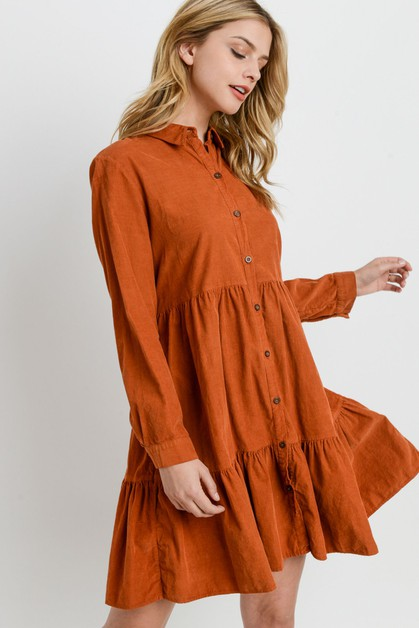 Small Corduroy Button Down Dress - orangeshine.com