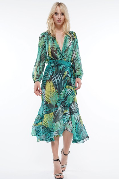 TROPICAL PRINT WRAP SKIRT - orangeshine.com