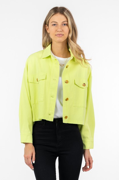 COTTON TWILL CROPPED JACKET          - orangeshine.com