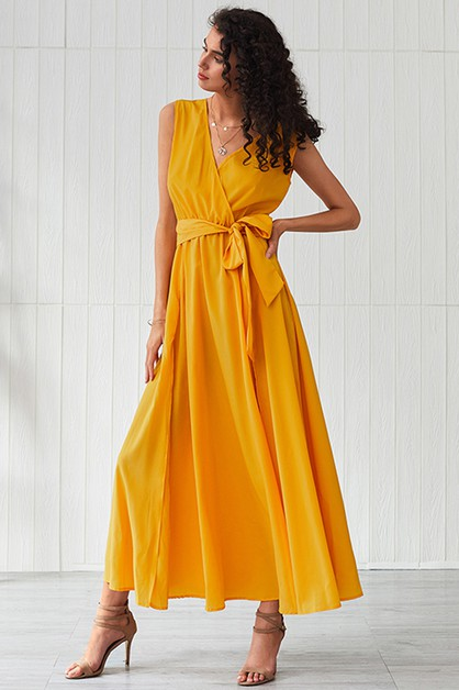 Sleeveless Waist Tie Maxi Dress - orangeshine.com