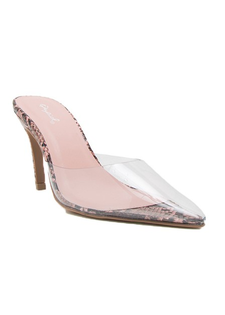 POINTY TOE CLEAR SLIP ON HIGH HEEL - orangeshine.com