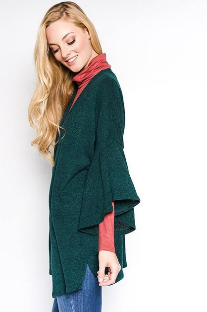 Bell Sleeve Casual Cardigan - orangeshine.com