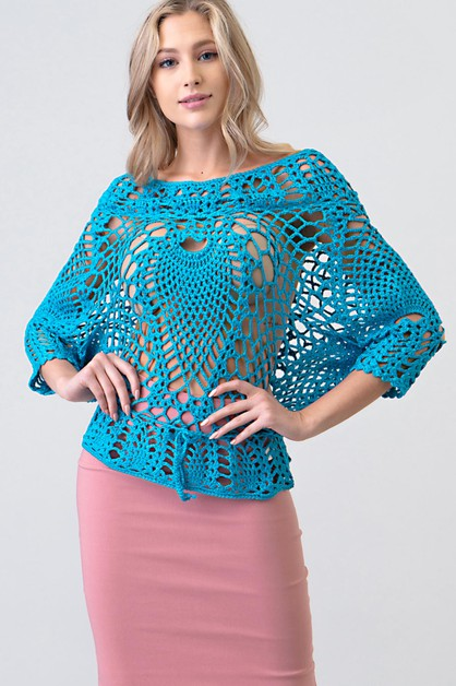 HAND CROCHET OFF SHOULDER LONG SLEEV - orangeshine.com