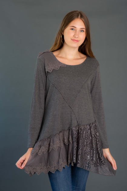 Mixed Media Knit Tunic - orangeshine.com