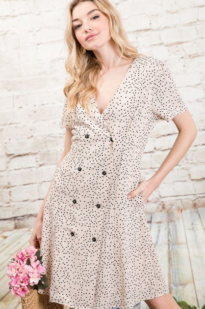 DOUBLE BREAST POLAK DOT DRESS - orangeshine.com