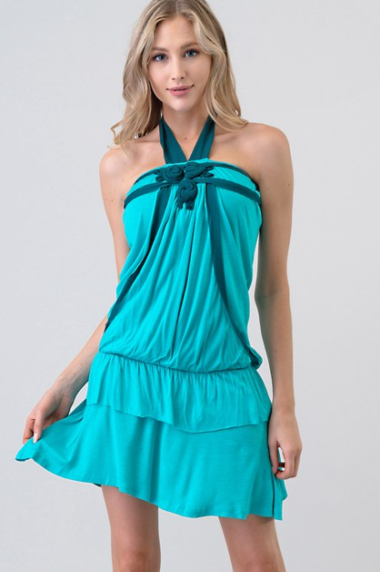 TIE BACK HALTER RUFFLE LAYERED DRESS - orangeshine.com