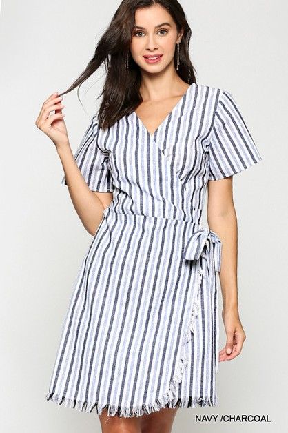 Surplice Neck Striped Wrap Dress - orangeshine.com