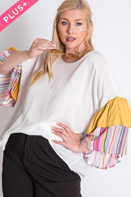 MULTI STRIPE SLEEVE TOP - orangeshine.com