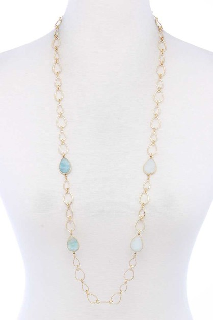 NATURAL STONE TEARDROP SHAPE NECKLAC - orangeshine.com