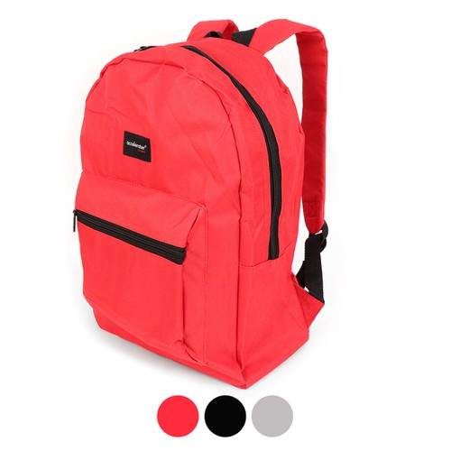 Solid Color Basic School Backpack - orangeshine.com