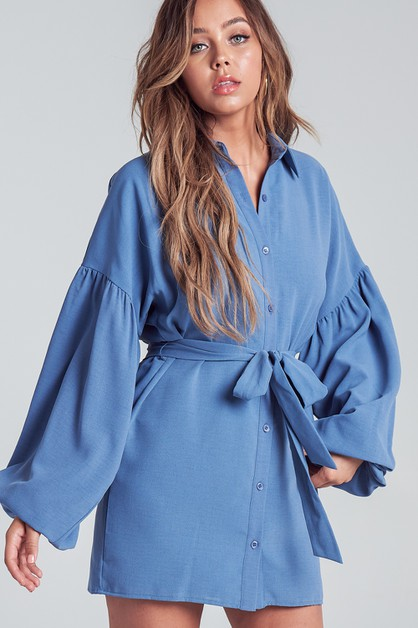 BUBBLE SLEEVE SHIRT DRESS - orangeshine.com