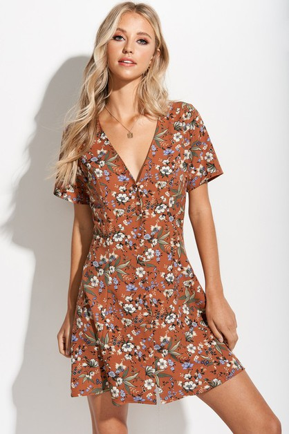 Floral Button Front Dress w Tie back - orangeshine.com