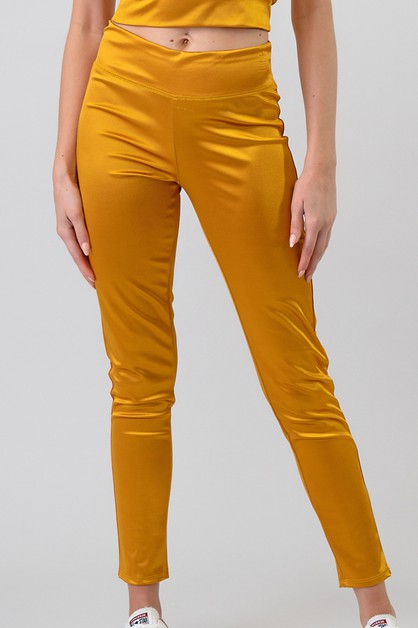 WIDE WAIST BAND SATIN LEGGING PANTS - orangeshine.com