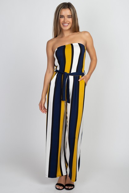 Multi Striped Jumpsuit - orangeshine.com