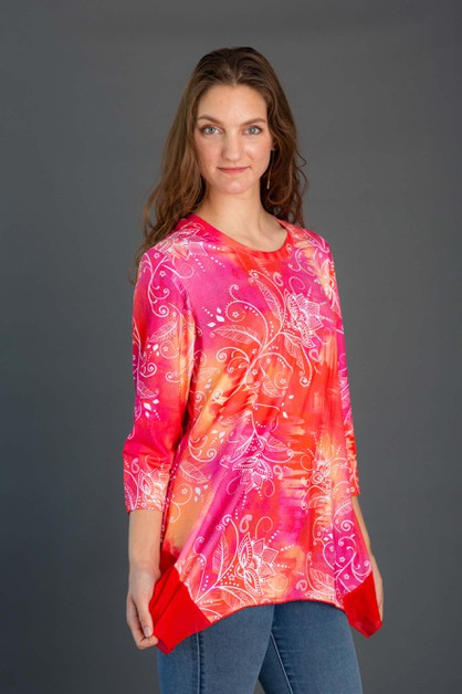 Floral Shark Bite Tunic - orangeshine.com