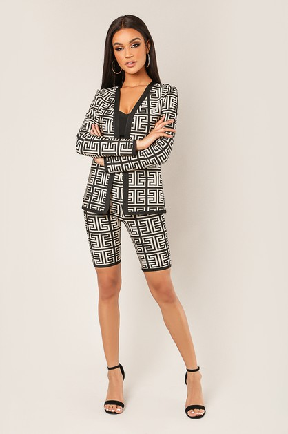 b1b798ea08d3 Patterned Jacket Bottom 2-Piece Set - orangeshine.com