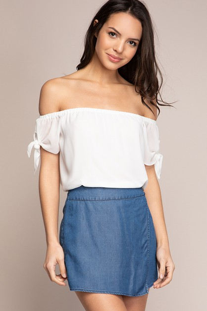 OFF SHOULDER BOWTIE SLEEVE BLOUSE  - orangeshine.com