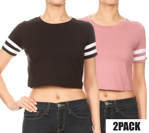 2 packs Solid Crop Tops Boho Casual  - orangeshine.com