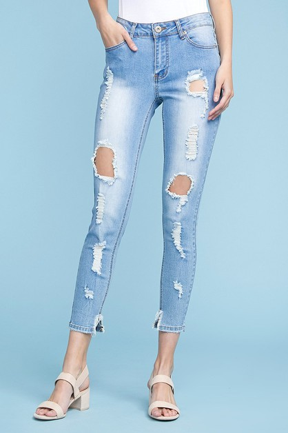 High Waist Destroyed skinny Jeans - orangeshine.com