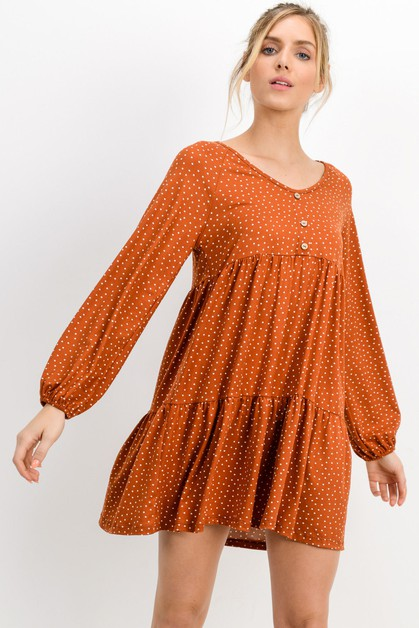 Dty Polka Dot Raglan Layered Dress - orangeshine.com