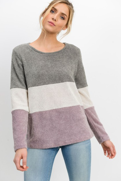 Contrasted Long Sleeve Top - orangeshine.com