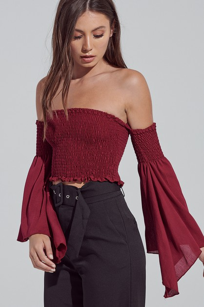 OFF THE SHOULDER CROP TOP - orangeshine.com