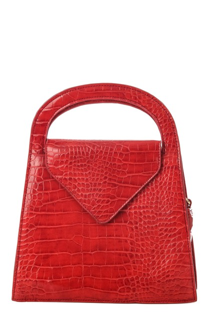 Faux Alligator Skin Square Handbag - orangeshine.com