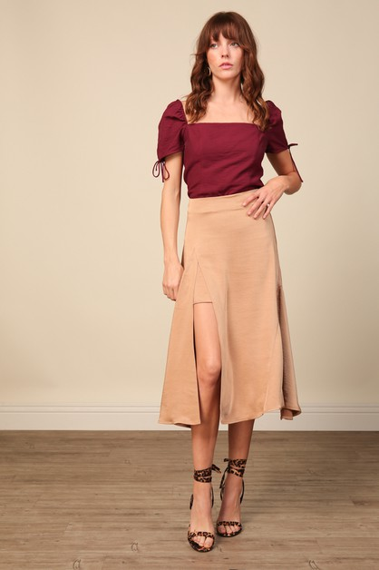 Elle Satin Midi Skirt - orangeshine.com
