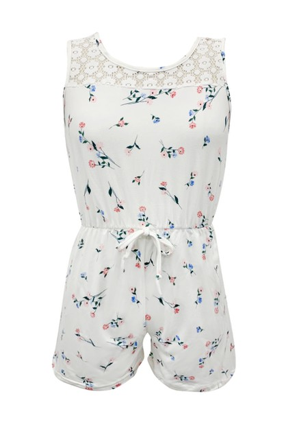 Kids White Floral Rompers Girls Boho - orangeshine.com