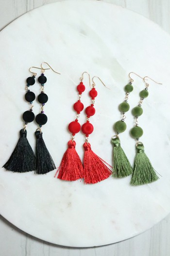 Velvet Ball and glass linked earring - orangeshine.com
