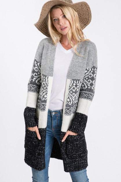 Long-slv knit sweater cardigan - orangeshine.com