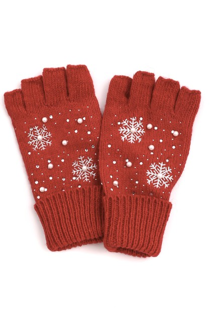 Snowflake Fingerless Winter Gloves - orangeshine.com